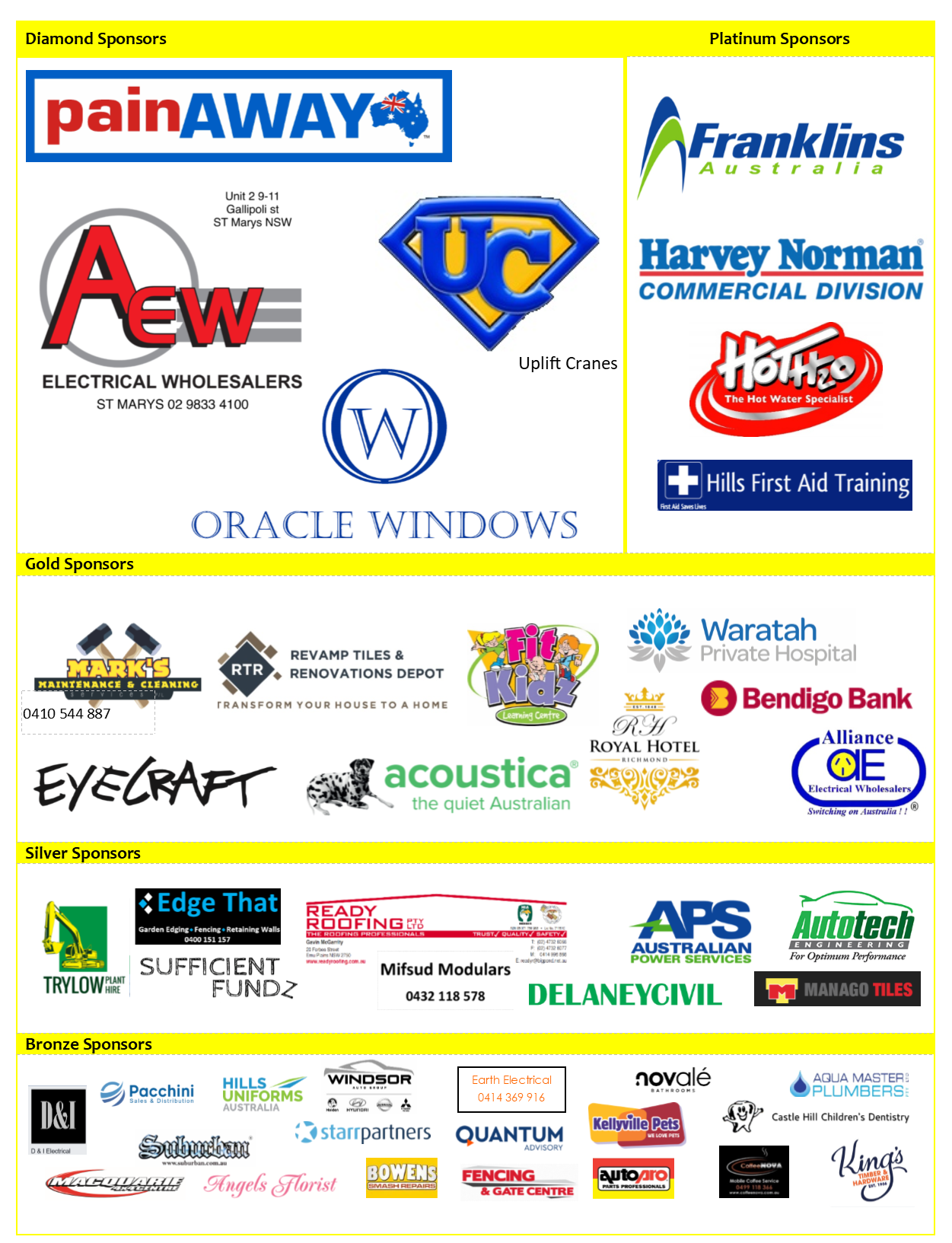 Sponsors on one page for website